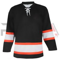 Black Orange Ice Hockey Jersey